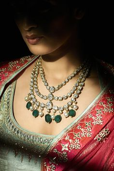 Indian Jewelry Polki Diamond and Emerald
