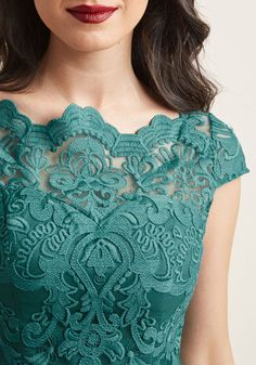Chi Chi London Exquisite Elegance Lace Dress in Lake - Make an unforgettable entrance in this decadently embroidered dress by Chi Chi London! With an ornate illusion neckline, intricate scalloped lace, and a full, tulle-lined skirt, this teal frock exudes timeless feminine flair.