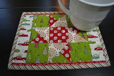 Handmade Quilted Christmas Mug Rug Holiday Mug Rug Star Mug