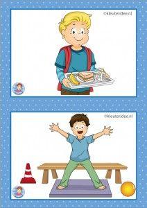 Vandaag gratis!!  32 dagritmekaarten voor kleuters, juf Petra kleuteridee / Preschool schedule cards / kaart 1 overblijven en gym