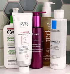 The best cleansers for rosacea and sensitive skin. Trying to find the best skincare routine for rosacea? My blog can help. How to remove make up without irritating rosacea. #talontedlex Drugstore Skincare, Skincare Routine, Rosacea, Cleansers, Flawless Skin, Clear Skin, Glowing Skin, Infographics, Sensitive Skin