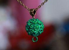 Floral sphere pendant, Malachite necklace, Flowers pendant Polymer clay jewelry Handmade pendant Polymer clay jewelry Flowers necklace chain