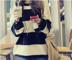 $11.25 Womens Long Sleeve Round Neck Pullover Jumper Casual Loose Top Knitwear Sweater