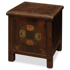 Hand Painted Tibetan Cabinet. A special place for keepsakes meanwhile functioning as a small side table, this unique cabinet has great practical value inside and out. With the elegant Chinese longevity design painted on the front, artistically it is also a treat for the eye. Tibetan furniture.