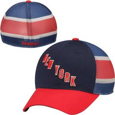29a0e42a29c Mens New York Rangers Reebok Royal Blue Red 3rd Jersey Hook Slouch Stretch  Fit Hat