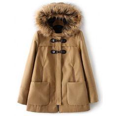 Faux Fur Hood Warm Woolen Coat