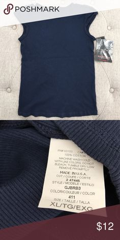 🆕 NWT: Rampage Navy Blue Tee NWT: Rampage Navy Blue Tee. Girls size XL. Brand new never worn. Would fit a petite small woman too! Also have a dusty pink version too ( see other post) Rampage Shirts & Tops Tank Tops