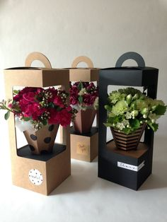 This is great for flower packaging up your flower arrangement. Boxes can be decorated with label, ri Flower Packaging, Gift Packaging, Packaging Design, Packaging Ideas, Flower Box Gift, Flower Boxes, Gift Flowers, Mothers Day Flowers, How To Wrap Flowers