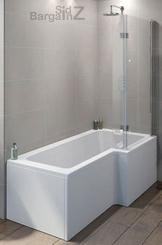 Product: L Shape Square Shower Bath Complete With Hinged Screen, Front Panel & Easy fit legs. P Shaped Bath, Bathroom Redesign, Bathroom Decor Luxury, Shower Over Bath, Wood Floor Bathroom, Bathroom Makeover, Bathroom Tub Shower, Bathroom Inspiration, Small Bathroom Makeover