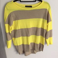 The limited tan & yellow striped sweater In perfect condition , worn only few times . Comfortable fit and nice colors The Limited Sweaters