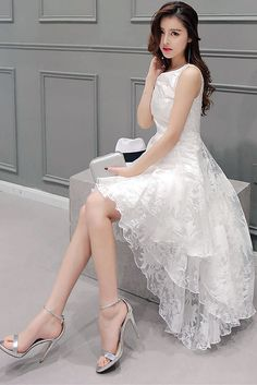 Angelic White Princess Dress, South Korea Airport Fashion Kpop Drama Korean Women OOTD Style, Korea Dress