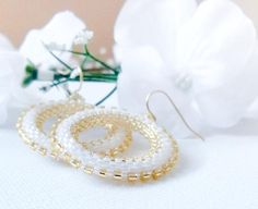 Wedding seed bead hoop earrings. Gold white Bridal by CallOfEarth, $42.00