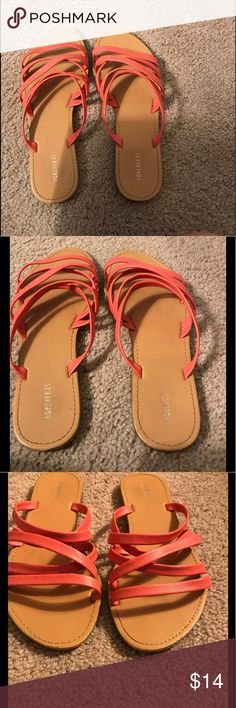 Pink Strappy Sandals Fairly worn! Still in good condition! Cute pink color! Love the strappy look! No longer fit! Some wear at top of sandal, but hardly noticeable! Accepting reasonable offers! No trades please! Forever 21 Shoes Sandals