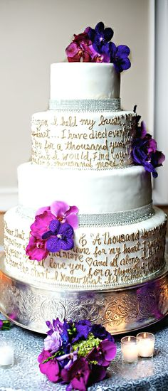 Wedding ● Cake ● Purple I love the idea of wrapping the cake with all my favorite romantic quotes from my favorite books or movies