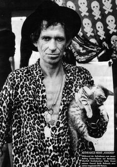 "Last night The Stones Zipcode Tour hit the Ga Tech stadium in the ATL!!!! Awesome Show!!!! 6-9-2015 And, this is Keef, obviously. Kittain? That's Voodoo, whom he adopted while they were recording ""Voodoo Lounge."" The ""lounge"" was Keef's big shirt pocket, where kittain would hang out during the sessions!"