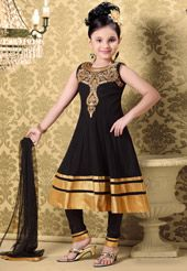 Black Net Readymade Anarkali Churidar Kameez