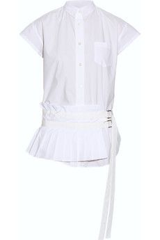 Sacai Pleated cotton-poplin shirt | NET-A-PORTER