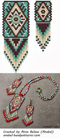 Схема кулона и серег - мозаичное плетение | - Схемы для бисероплетения / Free bead patterns -