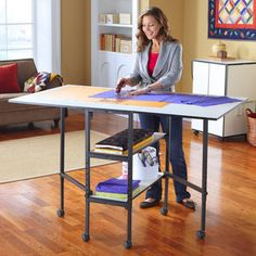 """Sullivan 38431 Hobby Craft Cutting Table 36x60"""" Top, Adjustable Height 29-38"""" Metal Stand at AllBrands.com"""