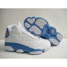 2b2510d74716d1 Nike Retro Air Jordan 13 Men (White Sky Blue)  55.00 Womens Jordans