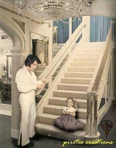 Elvis watching Lisa Marie on the steps.