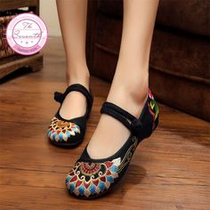Fashion Old Peking Cloth Shoes, Chinese Style Totem Flats Mary Janes Embroidery  Casual Shoes,  Red+Black Dance Women Shoes-in Women's Flats from Shoes on Aliexpress.com   Alibaba Group