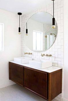 vintage credenza vanity, round mirror // bathroom update // smitten studio// love the backsplash Budget Bathroom, Bathroom Renos, Master Bathroom, Bathroom Ideas, Bathroom Mirrors, Bathroom Designs, Bathroom Interior, Bathroom Hanging Lights, Bathroom Inspo