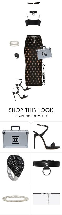 """""""City Chic"""" by jeunesauvage ❤ liked on Polyvore featuring Chanel, Giuseppe Zanotti, Carven, Betsey Johnson and Yves Saint Laurent"""