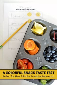 Looking for a fun activity to get your kids eating healthier? Try a Colorful Snack Taste Test with this free printable taste tester chart! Healthy Habits, Healthy Snacks, Healthy Recipes, Montessori, After School Snacks, Healthy Eating For Kids, Cooking With Kids, Food Items, Kids Meals
