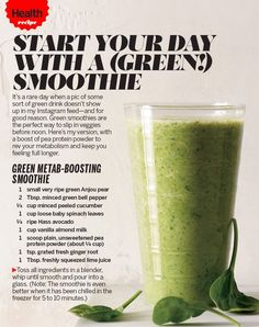 Green smoothies are the perfect way to slip in veggies before noon. This version, with a boost of pea protein powder will rev your metabolism and keep you feeling full longer. | Health.com