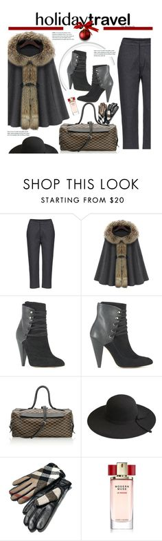 """Travel in Style, Winter Holiday Edition"" by beebeely-look ❤ liked on Polyvore featuring IRO, Moreau, Burberry, Estée Lauder, travelinstyle and winterstyle"