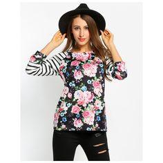Moda Camisas Mulheres Calitta. Blusa Feminina Floral Listrada Manga Longa  Preto e Branca Linda Casual 36799c943f0cd