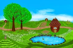 A fabulous summer illustration. Fields, flowers, beehives, lake, ducks, houses and more on this beautiful summer illustration. Digital art style.