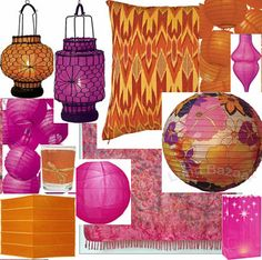 Pink and Orange color scheme for Asian Inspired party from Luna Bazaar.