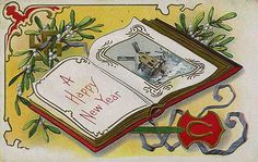 What's up with this vintage New Year card?  There's a swastika in the top left corner.  Weird...