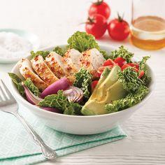 Pitas au poulet et tzatziki - 5 ingredients 15 minutes Pasta Salad, Cobb Salad, Poke Bowl, Fresh Rolls, Guacamole, Healthy Life, 3 D, Cabbage, Salads