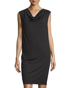 THREE DOTS Reversible Cowl-Neck Knit Dress, Black. #threedots #cloth #dress