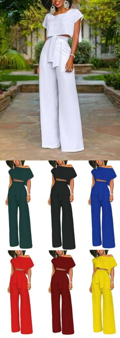 Shop our latest cut-out crop top wide leg jumpsuits. Feel effortlessly modern and stylish in this wide leg jumpsuit. Explore more fashion ideas at www.queenfy.com. #jumpsuit #fashionstyle #outfits #womensfashion #womenswear #Queenfy