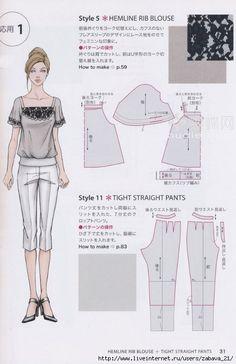 hemline rib blouse and tight straight pants