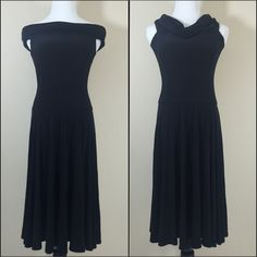 """Ralph Lauren Black Drop Waist Dress Lauren by Ralph Lauren black drop waist dress. Wear on or off shoulder.  Material is stretchy. Additional details:    Color:  Black  Fabric:  Polyester  Size: 4  Bust: 15.5 (across laid flat and not stretched)  Length: 38.5"""" (Top of shoulder to hem)  Condition: Excellent pre-loved condition Ralph Lauren Dresses"""