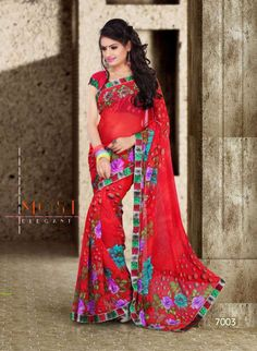 Sakshi Colors Designer Collection Red Color Chiffon Saree (Offer Price: Rs 1000 , Offered Discount: 50%) ** BUY NOW ** [MRP: Rs 2000]