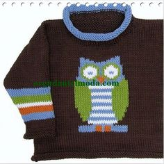 Roo Designs - Owl Pullover Pattern BookletLovely pattern containing sizes from 1 to 6 years.The pattern states this uses worsted yarn - the tension is 20 st Crochet For Boys, Knitting For Kids, Knitting Projects, Baby Knitting, Intarsia Knitting, Intarsia Patterns, Knitting Patterns, Dk Weight Yarn, Roll Neck Sweater