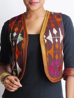 Buy Brown Multi Color Cotton Bagh Jacket Apparel Jackets The Spirit of Punjab Phulkari Embroidered Apparels and Accessories Decor Accents Online at Jaypore.com