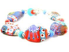 Summer Bracelet Pastel Glass Bead Bracelet by GlassRiverJewelry, $128.00