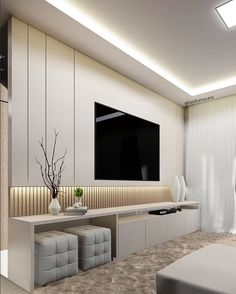Different TV Background Wall Design Makes The Living Room Look High-end, Atmospheric and Superior - Lily Fashion Style Living Room Design Small Spaces, Living Room Tv, Living Room Tv Unit Designs, Living Room Wall Units, Living Room Decor Apartment, Room Design, Bedroom Design, Tv Room Design, Living Room Design Modern