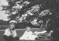 """Tsarevich Alexei Nikolaevich Romanov of Russia with his cousin,Prince Ludwig of Hesse (Darmstadt) and By Rhine and his mother,the Empress Alexandra Feodorovna of Russia.  """"AL"""""""