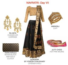 Conventional colours get an out of the box treatment with quirky motifs. Must-have extras: Big jewels and comfortable mojris to swing the night away. Gold Clutch, Lehenga Choli, Chandelier Earrings, Must Haves, Festive, Hot Pink, Women Wear, Ootd, Colours