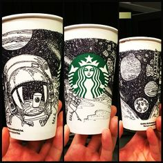 """Starbucks in Space"" Cup I drew for @Starbucks Loves White Cup Contest...because Starbucks is out of this world ;)"