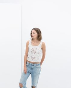 ZARA - NEW THIS WEEK - SHORT EMBROIDERED TOP