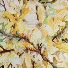 This piece by @nataliewargin reminds me of long drives in the spring through New Jersey as a kid where giant forsythia bushes would grow on sides of the highways and back roads. --- Check out our Art Contest going on now go to TalentedPeopleInc.com to submit your artwork! --- Here's a tiny painting of forsythia which by the way is actually blooming a bit here in upstate NY.  #artistsharing #artistsofinstagram #doitfortheprocess #nataliewargin #nature #globalwarming #sunday #watercolor…